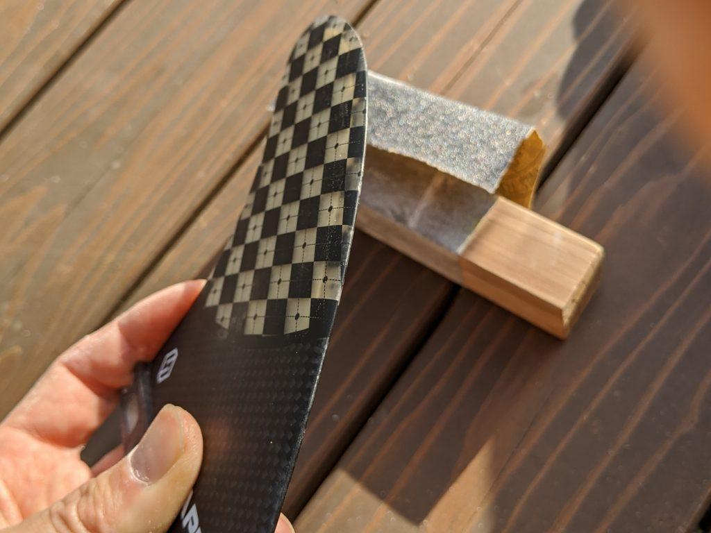 フィンを削って怪我防止